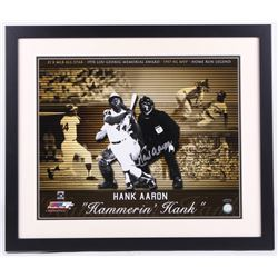 Hank Aaron Signed Braves 22x26 Custom Framed Photo Display (Steiner COA)