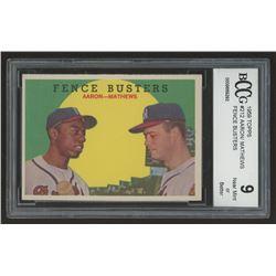 1959 Topps #212 Fence Busters / Hank Aaron / Eddie Mathews (BCCG 9)