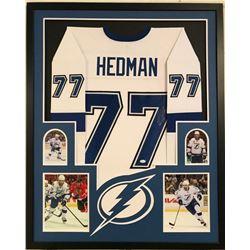 Victor Hedman Signed Lightning 34x42 Custom Framed Jersey Display (JSA COA)