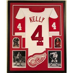 Red Kelly Signed Red Wings 34x42 Custom Framed Jersey Display (JSA COA)