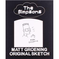 """Matt Groening Signed """"The Simpsons"""" 16x20 Custom Framed Original Sketch (JSA LOA)"""