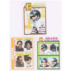 Lot of (3) Walter Payton Football Cards with 1979 Topps #480, 1978 Topps #504, 1979 Topps #132