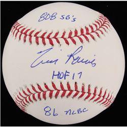 """Tim Raines Signed OML Baseball Inscribed """"808 SB's"""" """"HOF 17""""  """"86 NLBC"""" (JSA COA)"""