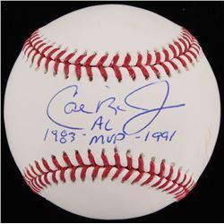 """Cal Ripken Jr. Signed OML Baseball Inscribed """"1983 AL MVP 1991"""" (JSA COA)"""