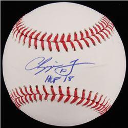 """Chipper Jones Signed OML Baseball Inscribed """"HOF 18"""" (Beckett COA)"""
