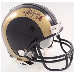 Marshall Faulk Signed Rams Mini-Helmet (JSA COA)