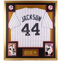 Reggie Jackson Signed Yankees 34x38 Custom Framed Jersey Display (JSA COA)