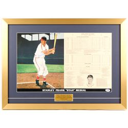 Stan Musial Signed Cardinals 19x26 Custom Framed Limited Edition Career Highlight Stat Card Display