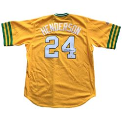 Rickey Henderson Signed Athletics Cooperstown Collection Jersey (PSA COA)