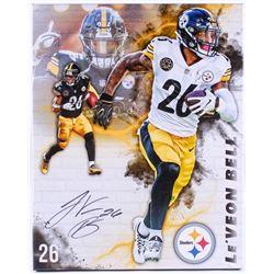 Le'Veon Bell Signed Steelers 20x25 Custom Framed Photo on Canvas (JSA COA)