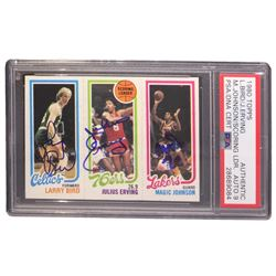 Larry Bird, Julius Erving  Magic Johnson Signed 1980-81 Topps #6 34 Larry Bird RC/174 Julius Erving