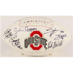 Ohio State Buckeyes Logo Football Signed by (13) with John Cooper, A. J. Hawk, Chris Spielman, Bobby