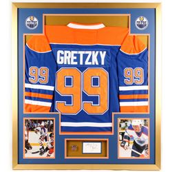 Wayne Gretzky Signed Oilers 34x38 Custom Framed Cut Display with Jersey and Championship Ring (JSA C