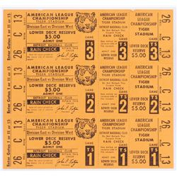 Unused 1972 Tigers vs. Athletics American League Championship (3 Ticket Sheet)