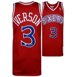 """Allen Iverson Signed 76ers Mitchell  Ness Jersey Inscribed """"97 ROY"""" (Fanatics Hologram)"""