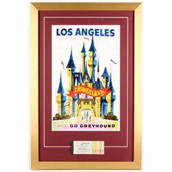 Disneyland's 17.5x26 Custom Framed Poster Print Display with Vintage Ticket
