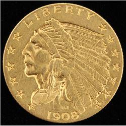 1908 $2.5 Indian Head Quarter Eagle Gold Coin