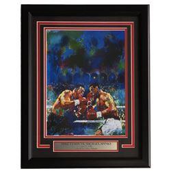 "Leroy Neiman ""Mike Tyson vs Michael Spinks"" 16x21 Custom Framed Print Display"
