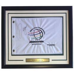 Sergio Garcia Signed World Golf Championships 22x27 Custom Framed Pin Flag Display (JSA COA)