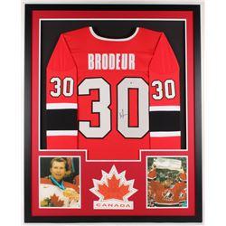 Martin Brodeur Signed Canada 34x42 Custom Framed Jersey Display (Beckett COA)
