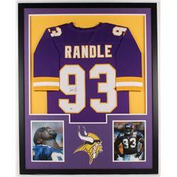 John Randle Signed Vikings 34x42 Custom Framed Jersey Display (Beckett COA)