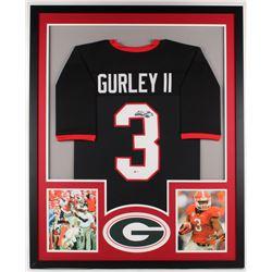 Todd Gurley Signed Georgia Bulldogs 34x42 Custom Framed Jersey Display (Beckett COA)