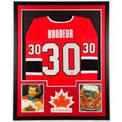 Martin Brodeur Signed Canada 34x42 Custom Framed Jersey (Beckett COA)