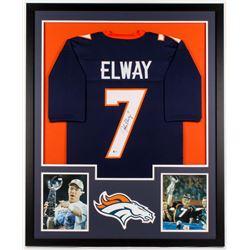 John Elway Signed Broncos 34x42 Custom Framed Jersey (Beckett COA)