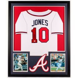 Chipper Jones Signed Braves 34x42 Custom Framed Jersey (JSA COA)