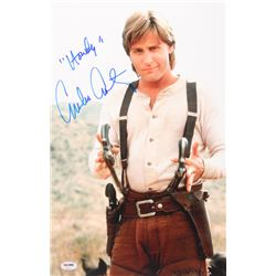 "Emilio Estevez Signed ""Young Guns"" 11x17 Photo Inscribed ""Howdy"" (PSA COA)"