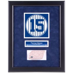Thurman Munson #15 Custom Framed 16.5x20.5 New York Yankees Stadium Monument Park Brick Display (Ste