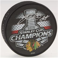 Patrick Kane Signed Blackhawks 2015 Stanley Cup Logo Hockey Puck (FSM COA)