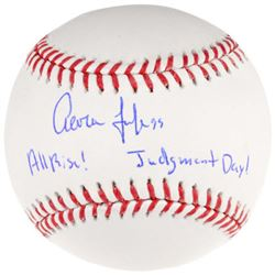 Aaron Judge Signed LE OML Baseball Inscribed  All Rise!    Judgement Day!  (Fanatics Hologram)