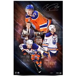 "Connor McDavid Signed LE ""2017 NHL Awards"" Oilers 16x24 Photo Inscribed ""30 G"", ""70 H""  ""100 pts"" (U"