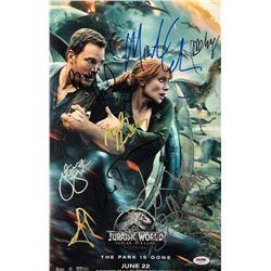Jurassic World: Fallen Kingdom  11  x 17  Movie Poster Photo Signed by (10) with Jeff Goldblum, Bry