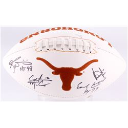 Longhorns Logo Football Signed by (4) With Colt McCoy, Vince Young, Ricky William  Earl Campbell Wit