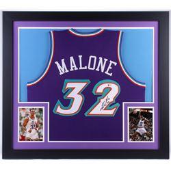 Karl Malone Signed Jazz 31x35 Custom Framed Jersey (Beckett COA)