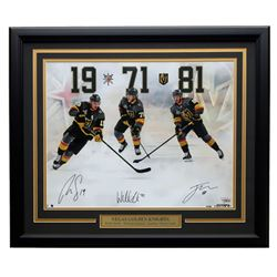 Reilly Smith, William Karlsson  Jonathan Marchessault Signed Knights 22x27 Custom Framed Photo Displ