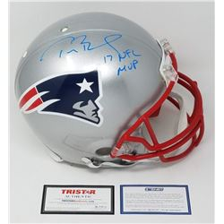 """Tom Brady Signed LE Patriots Full-Size Authentic On-Field Helmet Inscribed """"17 NFL MVP""""  (Steiner CO"""