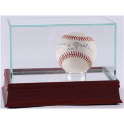 """Mickey Mantle Signed OAL Baseball Inscribed """"No. 7"""" with High-Quality Display Case (PSA LOA)"""