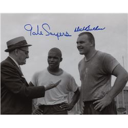 Gale Sayers  Dick Butkus Signed Bears 8x10 Photo (Schwartz COA)