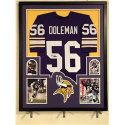 Chris Doleman Signed Vikings 34x42 Custom Framed Jersey (JSA COA)