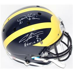"Desmond Howard  Charles Woodson Signed Michigan Wolverines Full-Size Helmet Inscribed ""Heisman 97"""