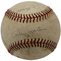Yankees OAL Baseball Signed by (4) with Yogi Berra, Billy Martin, Phil Rizzuto  Bill White (Beckett