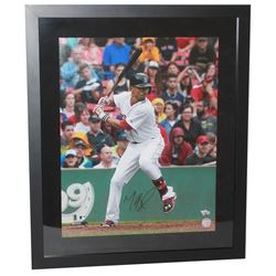 "Mookie Betts Signed Red Sox ""Home Run Swing"" 20x24 Custom Framed Photo Display (Fanatics Hologram)"