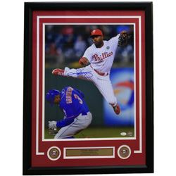 Jimmy Rollins Signed Phillies 22x29 Custom Framed Photo Display (JSA COA)