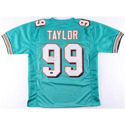 """Jason Taylor Signed Dolphins Jersey Inscribed """"HOF 17"""" (Radtke Hologram)"""