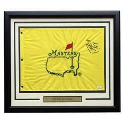 Peyton Manning Signed Masters 20x24 Custom Framed Golf Pin Flag Display (JSA COA)