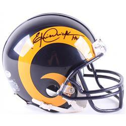 """Eric Dickerson Signed Rams Throwback Mini Helmet Inscribed """"HOF 99"""" (Schwartz COA)"""