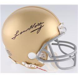 Lou Holtz Signed Notre Dame Fighting Irish Mini Helmet (JSA COA)